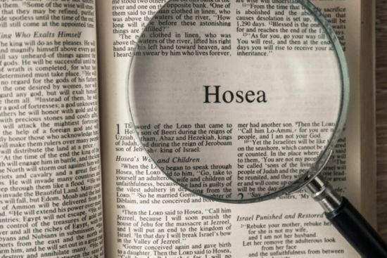 An open Bible turned to the book of Hosea.
