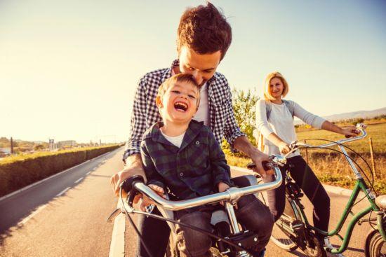 family, vacation, riding bikes