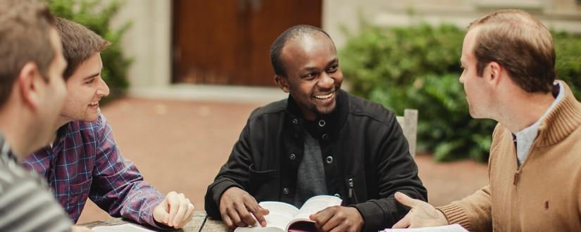 Man leading a men's Bible study