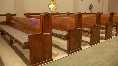 Refinished Wood Pews with Cushions