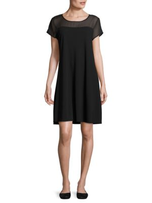 Sheer Yoke Short Sleeve Dress by Vince Camuto