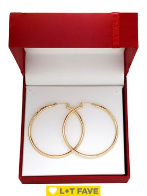 14 K Yellow Gold Tube Hoop Earrings by Lord & Taylor