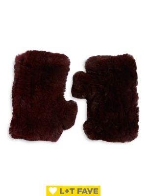 Rabbit Fur Fingerless Gloves by Surell