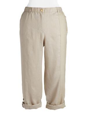Plus Linen Rolled Cuff Pants by Calvin Klein