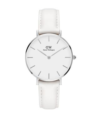 Classic Petite Bondi Silver And Leather Strap Watch, 32mm by Daniel Wellington