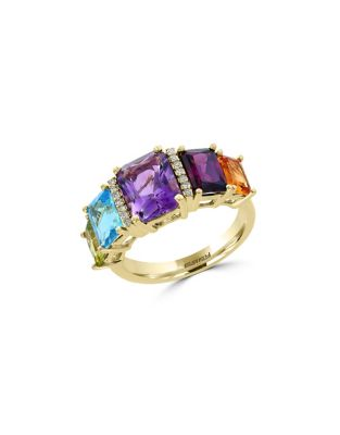 Diamonds & 14 K Yellow Gold Multicolour Cocktail Ring by Effy