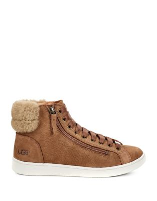 Olive Leather And Sheepskin Sneaker by Ugg