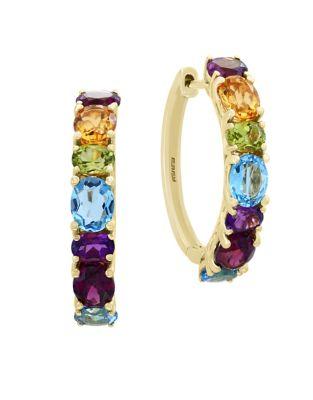 Mosaic Multi Stone 14 K Yellow Gold Hoop Earrings by Effy