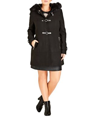 Plus Faux Fur Trimmed Wonderland Coat by City Chic