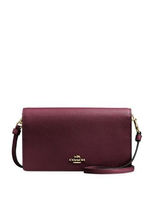 Foldover Leather Crossbody Clutch by Coach