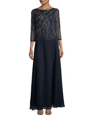 Sequined Column Dress by J Kara