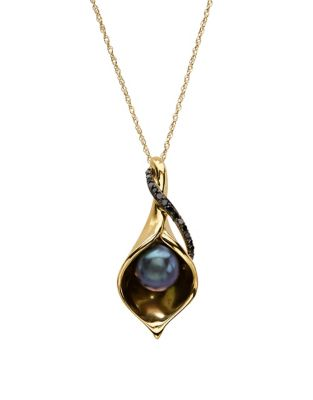 Black Oval Freshwater Pearl, Diamond And 14 K Yellow Gold Pendant Necklace by Lord & Taylor