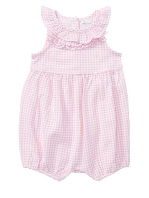 Baby Girl's Gingham Sleeveless Bodysuit by Ralph Lauren Childrenswear