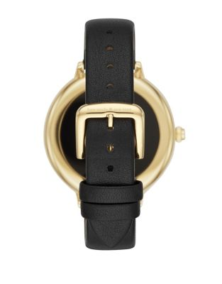 Goldtone Scalloped Bezel Leather Touchscreen Smart Watch by Kate Spade New York