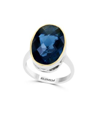 Blue Crystal, 18 K Yellow Gold And Sterling Silver Ring by Effy