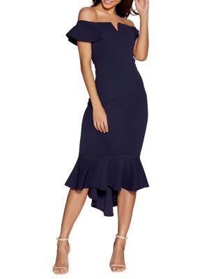 Bardot Dip Hem Dress by Quiz