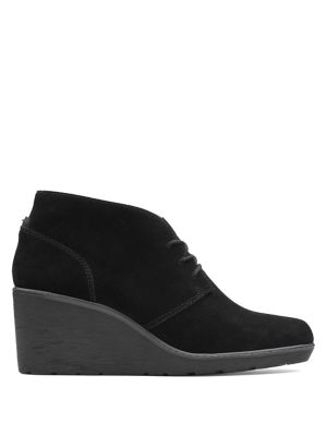Hazen Charm Suede Wedge Booties by Clarks