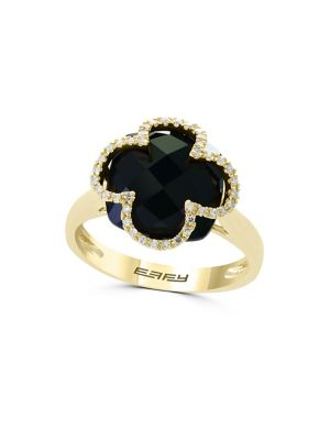 Eclipse Onyx, Diamond And 14 K Yellow Gold Ring by Effy