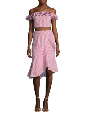 two-piece-ruffle-and-striped-off-the-shoulder-cropped-top-and-asymmetrical-skirt by wayf