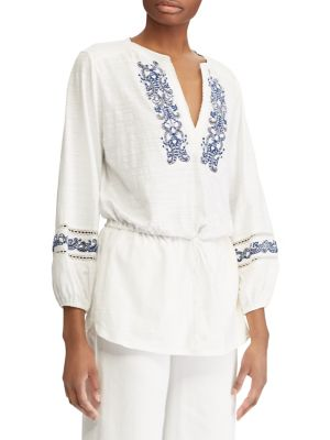 Embroidered Cotton Top by Lauren Ralph Lauren