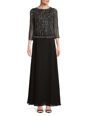 Quarter Sleeve Sequined Sheer Dress by J Kara