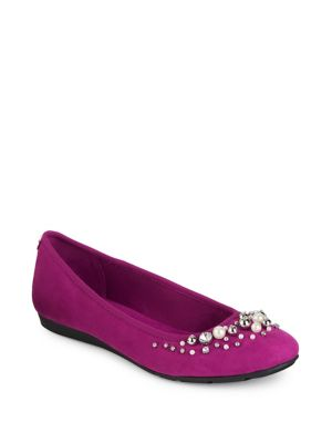 Aveline Embellished Microsuede Flats by Anne Klein