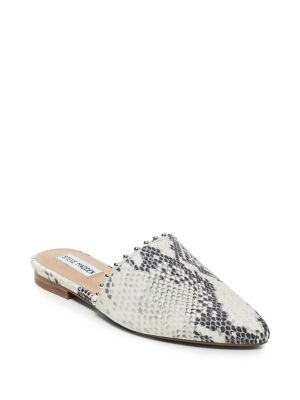 Trace B Snake Print Leather Mules by Steve Madden