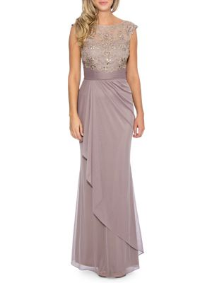 Floral Applique Beaded Column Gown by Decode 1.8