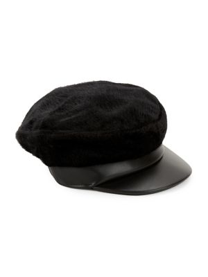 Faux Leather Newsboy Cap by Bcbgmaxazria