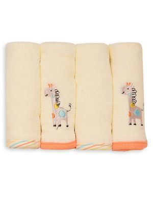 Baby's Four Piece Velour Cotton Giraffe Washcloths Set by Little Me