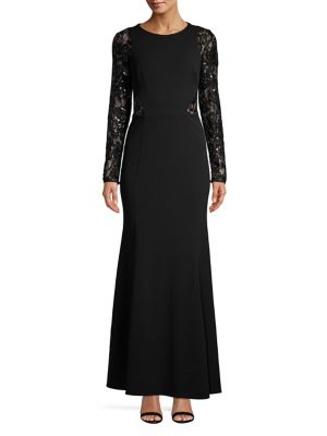 Long Sleeve Sequined Lace Gown by Eliza J