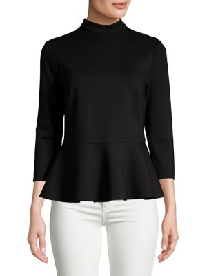 Mockneck Ponte Peplum Top by Lord & Taylor