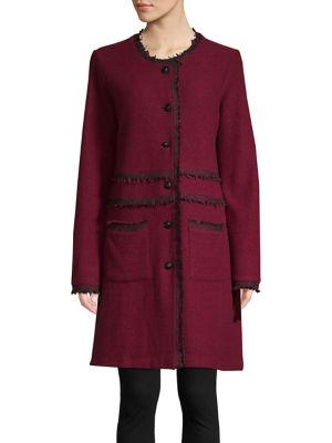 Collarless Tweed Trimmed Long Coat by Karl Lagerfeld Paris