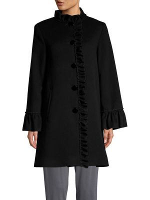 Ruffle Trimmed Wool & Cashmere Coat by Sofia Cashmere