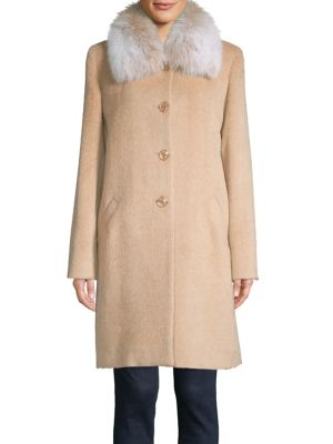 Fox Fur Relaxed Fit Car Walker Coat by Sofia Cashmere