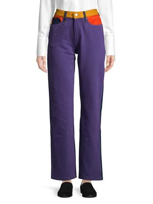 Colored High Rise Wide Leg Jeans by Calvin Klein