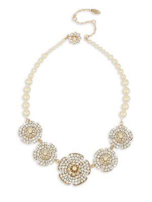 Crystal And Faux Pearl Statement Necklace by Miriam Haskell