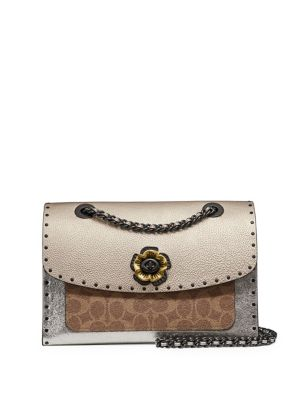 Parker Leather Shoulder Bag With Rivets And Snakeskin Detail by Coach