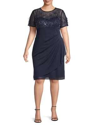 Plus Embellished Shift Dress by Xscape
