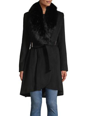 Faux Fur Wool Blend Coat by Calvin Klein