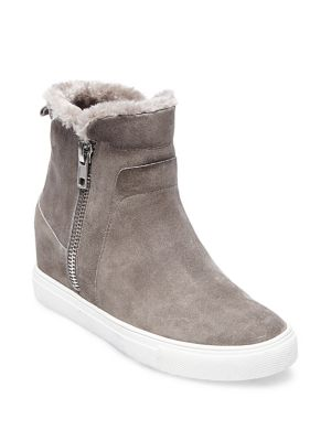 Camela Suede And Faux Fur Sherpa Lined Sneakers by Steven By Steve Madden