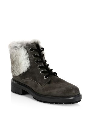 Lacy Rabbit Fur And Shearling Lined Combat Boots by Aquatalia