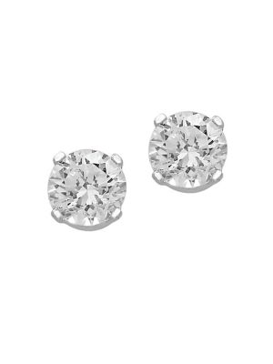 14 K White Gold And Diamond Stud Earrings by Effy