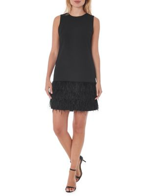 Feather Hem Sheath Dress by Sam Edelman