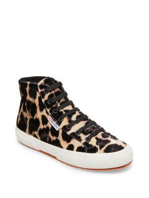 Leopard Print Velvet Sneakers by Superga