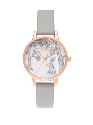 Snow Globe Rose Goldtone And Leather Strap Watch by Olivia Burton