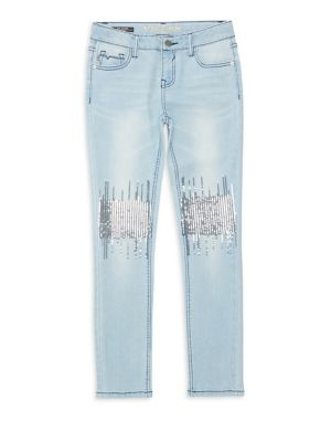 Girl's Sequin Embellished Jeans by Vigoss