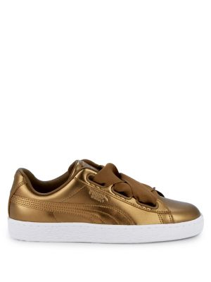 Ribbon Lace Metallic Leather Sneakers by Puma