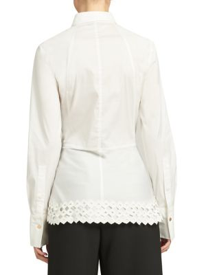 Point Collar Lace Peplum Blouse by Donna Karan