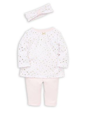 Baby Girl's Three Piece Polka Dot Cotton Tunic, Leggings & Headband Set by Little Me